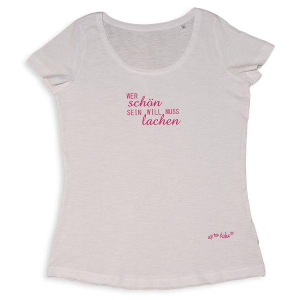 Oversize T-Shirt Wer schön sein will...muss lachen...?