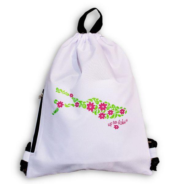 Rucksackbeutel mit fröhlichem Blumen-Bodensee Design