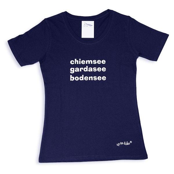 Sportliches Basic T-Shirt mit Chiemsee-Gardasee-Bodensee